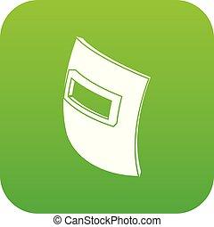 quadrat, schweißen maske, ikone, grün, vektor