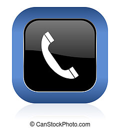 quadrat, telephonieren zeichen, telefon, glänzend, ikone
