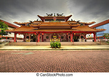 quadrat, tempel, chinesisches , gepflastert
