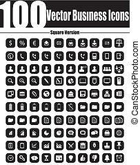 quadrat, ve, geschäfts-ikon, vektor, 100