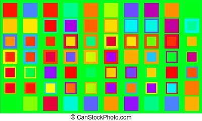 quadrate, bunte, minimalismus, begriff, schirm, grün, funkeln