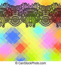 quadratische farbe, muster, zusammensetzung, blume, hintergrund, ethnisch, geometrisches design