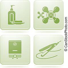 quadrato, 2d, set:, bagno, cobalto, icone