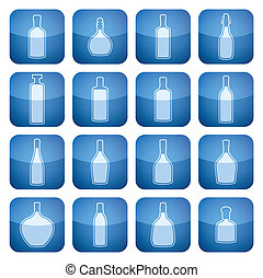 quadrato, 2d, set:, icone, cobalto, alcool, bottiglie