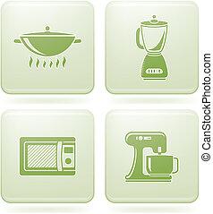 quadrato, 2d, set:, icone, olivine, utensili, cucina