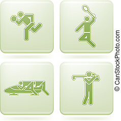 quadrato, 2d, set:, sport, cobalto, icone