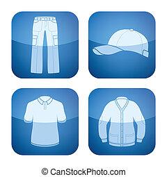 quadrato, abbigliamento, 2d, set:, cobalto, icone, uomo