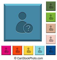 quadrato, affilato, icone, sconosciuto, bottoni, utente, inciso