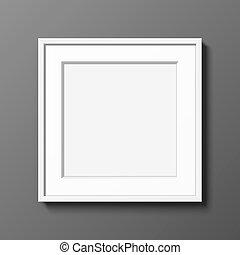 quadrato, appendere, cornice, bianco, wall., grigio