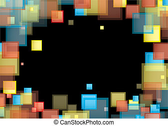 quadrato, arcobaleno, cornice