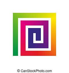 quadrato, arcobaleno, spirale