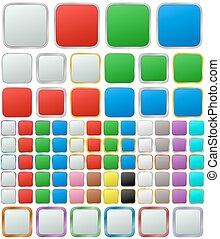 quadrato, arrotondato, colorare, bottone, metallico, set