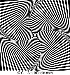 quadrato, arte, vettore, fondo, illusione ottica