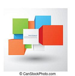 quadrato, astratto, oggetto, fondo., vettore, 3d