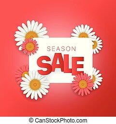 quadrato, banner., stagione, vendita, offer., vettore, composizione