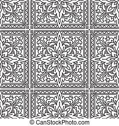 quadrato, black-white, astratto, anti, texture., coloritura, modello, seamless, style., disegnato, essere, usato, mano, terapia, etnico, linea, stress, coloring-book., tribale, lattina, mono, o
