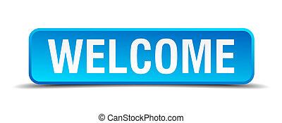 quadrato blu, bottone, benvenuto, isolato, realistico, 3d