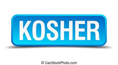 quadrato blu, bottone, isolato, kosher, realistico, 3d