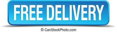 quadrato blu, bottone, isolato, libero, consegna, realistico...
