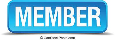 quadrato blu, bottone, isolato, membro, realistico, 3d