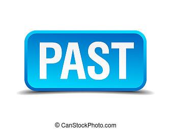 quadrato blu, bottone, isolato, passato, realistico, 3d