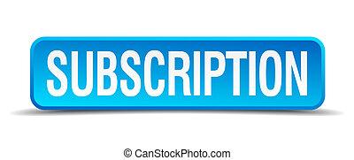 quadrato blu, bottone, isolato, realistico, 3d, sottoscrizione