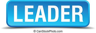 quadrato blu, bottone, isolato, realistico, condottiero, 3d