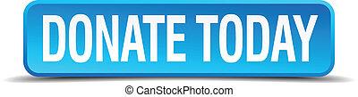 quadrato blu, bottone, isolato, realistico, donare, oggi, 3d