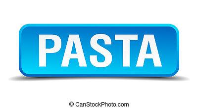 quadrato blu, bottone, isolato, realistico, pasta, 3d