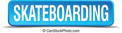 quadrato blu, bottone, isolato, realistico, skateboarding, 3d