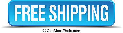 quadrato blu, bottone, isolato, spedizione marittima, ...