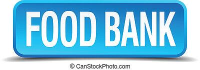 quadrato blu, cibo, bottone, isolato, realistico, banca, 3d