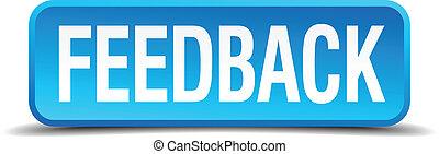 quadrato blu, feedback, bottone, isolato, realistico, 3d