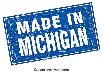 quadrato blu, grunge, francobollo, michigan, fatto