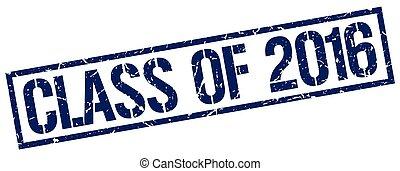 quadrato blu, grunge, francobollo, vendemmia, gomma, 2016, classe