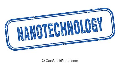 quadrato blu, grunge, nanotechnology, stamp., segno