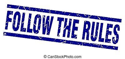 quadrato blu, grunge, regole, francobollo, seguire