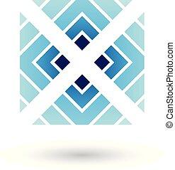 quadrato blu, illustrazione, vettore, lettera x, triangoli, icona