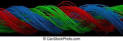 quadrato blu, modellato, torsione, verde, wires., rosso