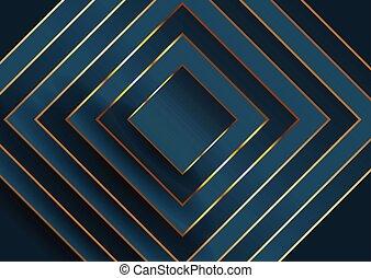 quadrato blu, oro, astratto, elegante, disegno, fondo