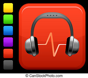 quadrato, bottone, cuffie, internet, audio, icona