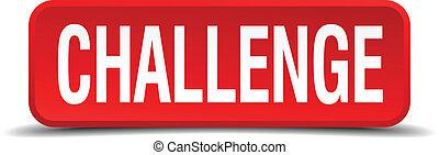 quadrato, bottone, fondo, bianco, sfida, rosso, 3d