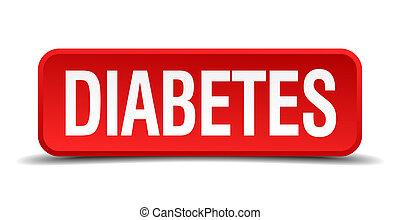 quadrato, bottone, isolato, fondo, bianco, 3d, rosso, diabete