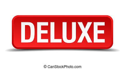 quadrato, bottone, isolato, fondo, bianco, deluxe, rosso, 3d