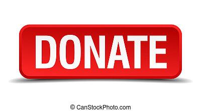 quadrato, bottone, isolato, fondo, bianco, donare, rosso, 3d