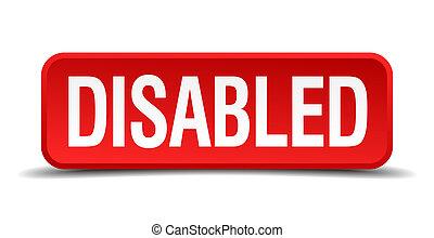 quadrato, bottone, isolato, invalido, fondo, bianco rosso, 3d