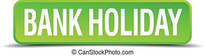 quadrato, bottone, isolato, realistico, verde, vacanza, banca, 3d