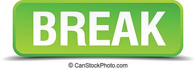quadrato, bottone, isolato, rottura, realistico, verde, 3d