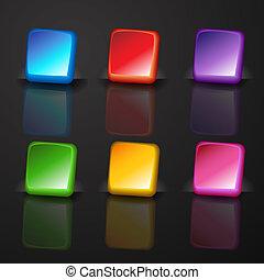 quadrato, bottone, set