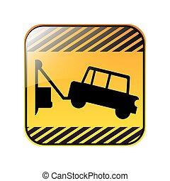 quadrato, camion, rimorchio, segno strada